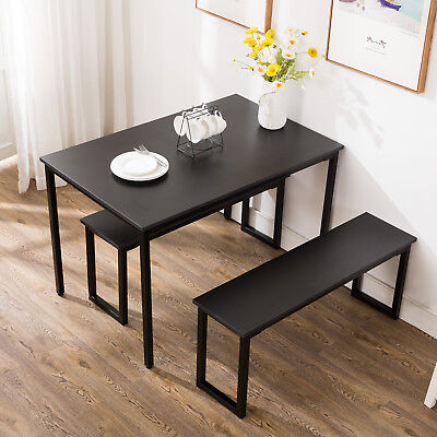3 Piece Dining Table Set 2 Chairs Bench Kitchen Dining Room Breakfast Nook Black • 119.99$