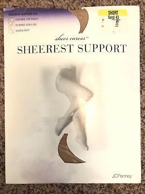 d65a8fa518e JC Penney Sheer Caress Sheerest Support Pantyhose Sand Color Size Short •  9.99