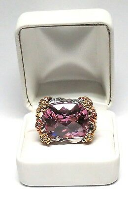 $325 • Buy Huge Charles Winston Pink Sapphire CZ Sterling Silver Floral Ring 27.54 Grams!