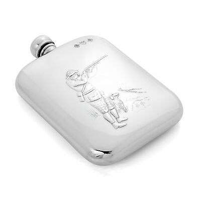 £48 • Buy 6oz Pewter Shooting Hip Flask / Ounce / Hunting / Gun Dog / Country Pursuits