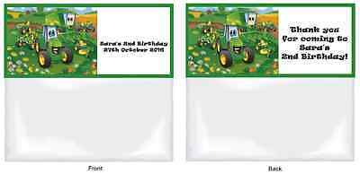 AU8 • Buy JOHN DEERE / TRACTOR Personalised Birthday Party/Loot Favour Bags & Toppers X 15