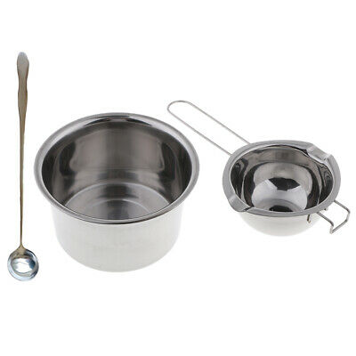 3x Stainless Steel Wax Melting Pot Double Boiler & Long Handle Spoon For DIY • 8.40£
