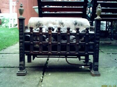 Antique Cast Iron Coal Effect Gas Fire With Back Heat Reflector • 50£