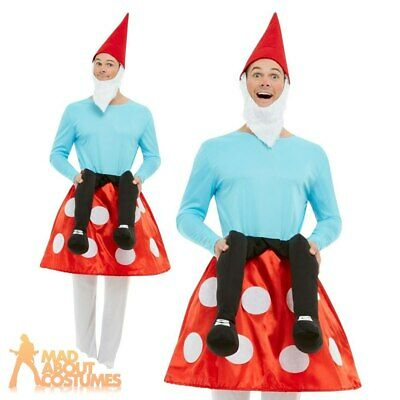 Adults Garden Gnome Toadstool Costume Funny Stag Do Mens Fancy Dress Outfit • 24.99£