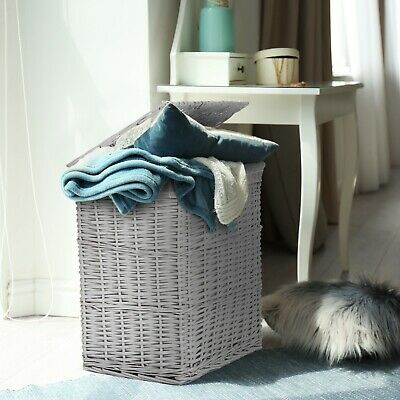Grey Paint Laundry Wicker Basket Cotton Lining With Lid Bathroom Storage • 26.99£