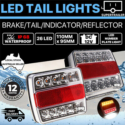 AU33.95 • Buy 2X Submersible/Waterproof 26 LED Stop Tail Lights Kit Boat Truck Trailer Lights