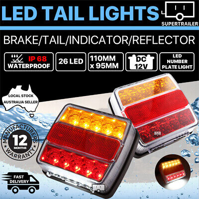 AU34.95 • Buy 2X Submersible Trailer Tail Lights 26 LED Stop Tail Lights Kit Boat Truck Lamp