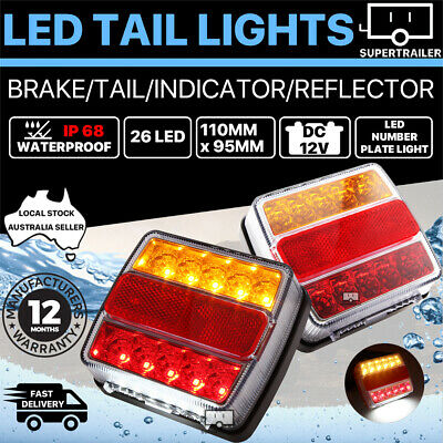 AU33.95 • Buy 2X Trailer Tail Lights 26 LED Stop Tail Lights Kit Boat Truck Lamp Waterproof