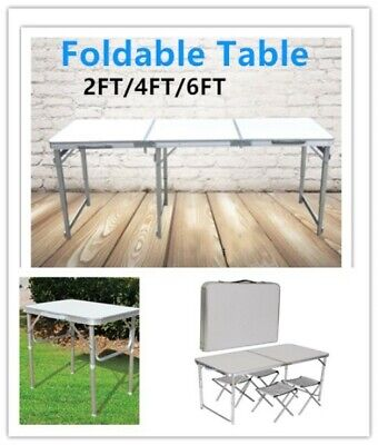 2/4/6FT Folding Table Camping Picnic Garden Party BBQ Room Portable Adjustable • 30.99£