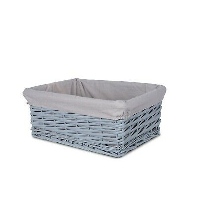 Grey Painted Three Sizes Available Wicker Storage Basket Shelf Organization Gift • 11.99£
