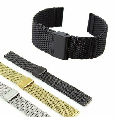 6e2e448b8f9 Mesh Stainless Steel Watch Band Uhrarmband Metal Clasp Bracelet Strap 18-24mm  US • 7.29