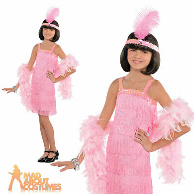 £8.99 • Buy Girls Pink 1920s Charleston Flapper Costume Gatsby 20s Kids Fancy Dress Outfit