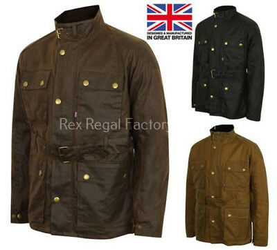 Mens Lewis Creek Motorcycle Wax Cotton Jacket Biker Waxed Belted Coat British UK • 59.98£