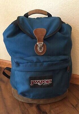 Vintage JanSport Backpack Green With Leather Bottom Made In USA Top  Drawstring • 29.00  0e0d2493bd40a