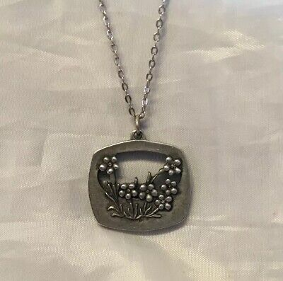 """$ CDN12.50 • Buy Pewter Pendant Necklace Flower Square Cut Out Center Silvertone Chain 18"""""""