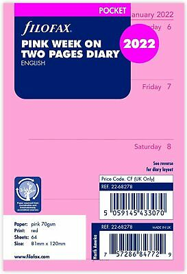 Filofax Pocket 2021 Pink Week On Two Pages Diary Refill Insert 21-68278 • 6.89£