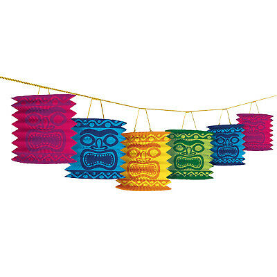 12ft Tiki Head Hawaiian Luau Beach Party Paper Lanterns Garland Decorations • 4.95£