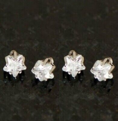 £6.32 • Buy 4 Pieces Tiny 3mm Prong Set Star Shape C.Z. Micro Dermal Anchors Top 14G