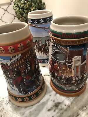 $ CDN38.23 • Buy Budweiser Holiday Stein Set 1994 1995 1997 Beer Anheuser Busch Clydesdales Lot 3