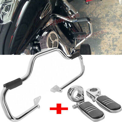 $159.20 • Buy Fit 06-17 Harley Dyna Mustache Highway Engine Guard Crash Bar+1.25''Foot Pegs