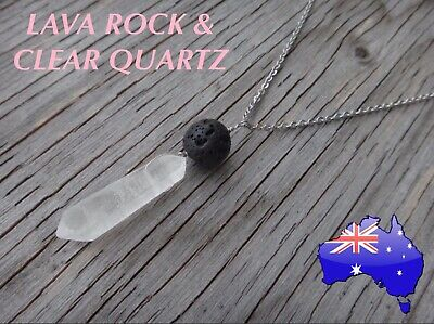AU11.50 • Buy Lava Rock Stone Clear Quartz Crystal Oil Diffuser 925 Sterling Silver Necklace