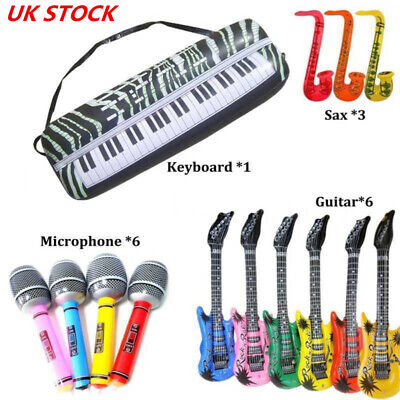 16 X Inflatable Music Instruments Guitar Microphone Saxophone Neon BLOW UP LOT • 6.99£