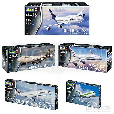 Revell Aeroplane 1:44 Model Kits Boeing Airbus British Airways Lufthansa UPS • 21.99£