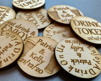 £0.99 • Buy Personalised Birch Drink Tokens Wedding Favours CirclesParty Celebration Wooden