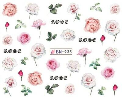 £1.75 • Buy Nail Art Decals Transfers Stickers Pale Pink Roses (BN935)