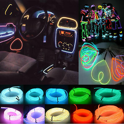 Neon LED Light Glow EL Wire String Strip Tube + Controller For Car Party Decor • 6.99$