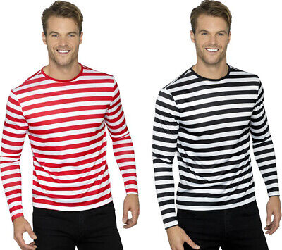 Mens Fancy Dress Party Long Sleeves Crew Neck Tee Adults Stripy T-Shirt S-L • 11.49£