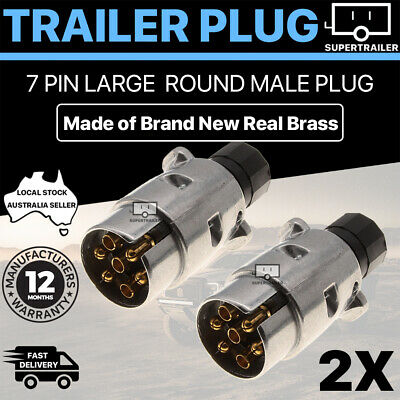 AU14.95 • Buy 2X Aluminium Trailer Plug 7 Pin Round Metal MALE ADAPTER CONNECTOR TRUCK CARAVAN