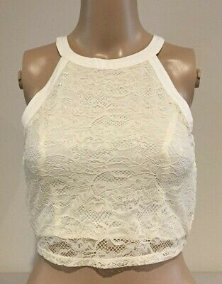 AU14.95 • Buy Abercrombie & Fitch HOLLISTER CROP TOP Womens Ivory Lace CAMI Size M NWT