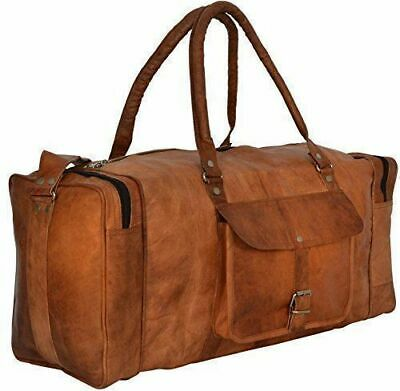 Bag Leather Duffle Men Travel Gym Genuine Luggage Overnight Vintage Weekend Mens • 39.99£