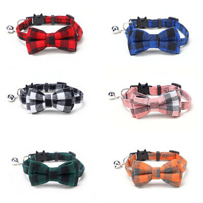 (CC043) Chequered Bow Tie Cat Collar, Safety Release, Removable Bow And Bell • 4.55£