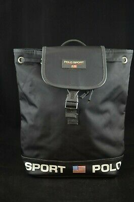 5ca07809fe Polo Sport Ralph Lauren Vintage 90 s Backpack Black Spell Out Bag Gym Duffle  • 39.95
