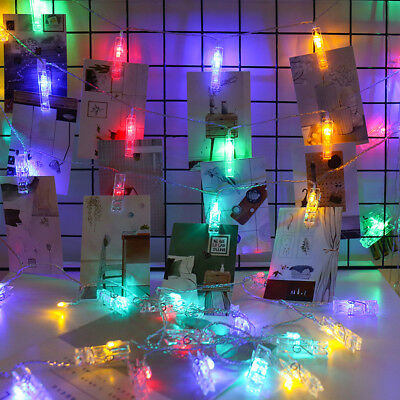40x LED Photo Clip Peg String Lights Battery Operated Home Party Decor  • 5.59£