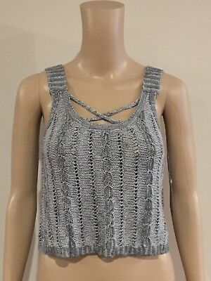 AU16.95 • Buy Abercrombie & Fitch Hollister Grey Strappy Sweater Tank Top Cami Size L NWT