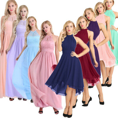Women Halter Lace Prom Formal Evening Cocktail Party Bridesmaid Gowns Full Dress • 18.47£