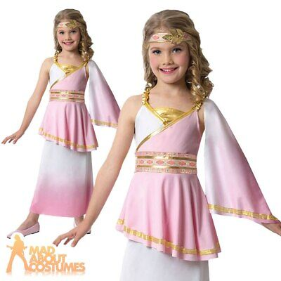 Kids Girls Roman Greek Goddess Costume Toga Childs Fancy Dress Outfit Book Day  • 12.29£