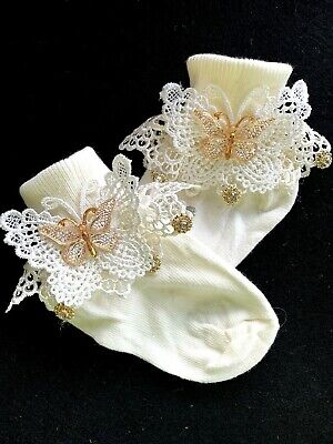 £8.50 • Buy Girls Ivory-vintage Lace-anklesocks-embroidered-butterfly-bridesmaid-flower Girl