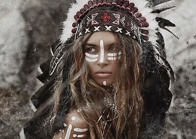 A1 | Native American Indian Poster Art Print 60 X 90cm 180gsm Tribe Gift #12569 • 10.99£