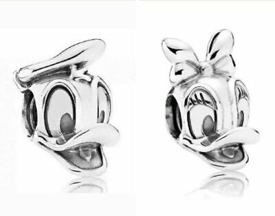 Donald Duck & Daisy Duck Disney Silver Plated Charm Fits European Charm Bracelet • 4.95£