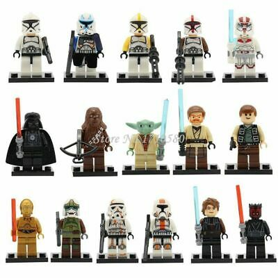 £21.99 • Buy 16 Pcs MINI FIGURES STAR WARS JEDI THE FORCE FIT LEGO YODA VADER STORM TROOPERS