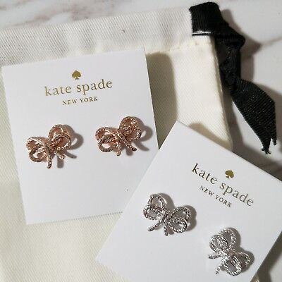 $ CDN41.71 • Buy New Kate Spade Bow Meets Girl Pave Studs Rose Gold/ Silver W/ Dust Bag