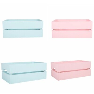 Pink/Blue Wooden Crates Retail Display Storage Box Toy Collection Gift Hamper • 8.99£