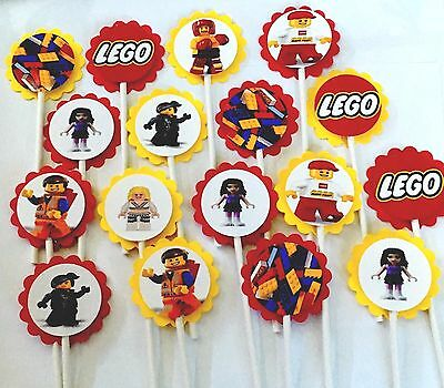 $12.98 • Buy 30 Compatible With LEGO Cupcake Toppers Birthday Party Favors, Baby Shower