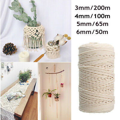AU14.99 • Buy 3/4/5/6mm Macrame Rope Natural Beige Cotton Twisted Cord Artisan Hand Craft  NEW
