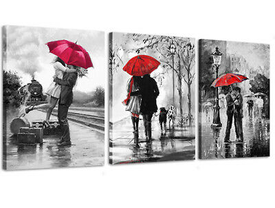 $32.99 • Buy Canvas Wall Art Black White And Red Umbrella Loves Framed Picture For Wall Decor
