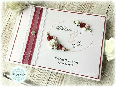 **Personalised Wedding Guest Book Luxury Vintage Rose/ Lace/ Ribbon Includes Box • 20.99£